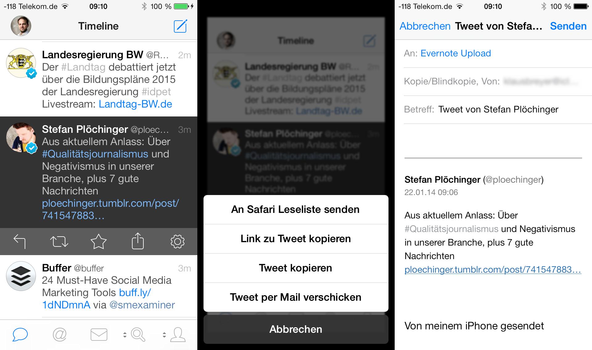 Wie man aus dem Twitter Client Tweetbot einen Link an Evernote sendet.