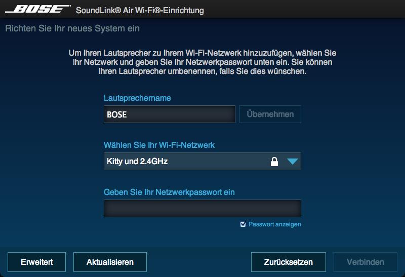 Netzwerkeinrichtung der Bose Soundlink Air