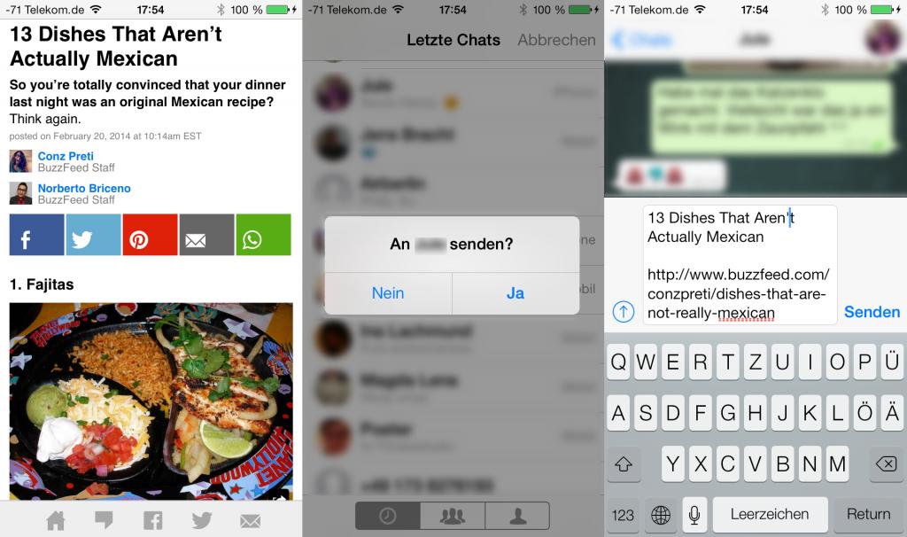 whatsapp Button von buzzfeed