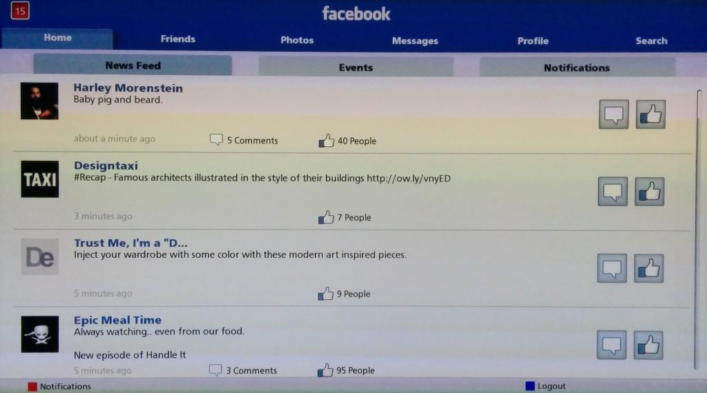 Newsfeed der Panasonic VIERA Facebook Anwendung