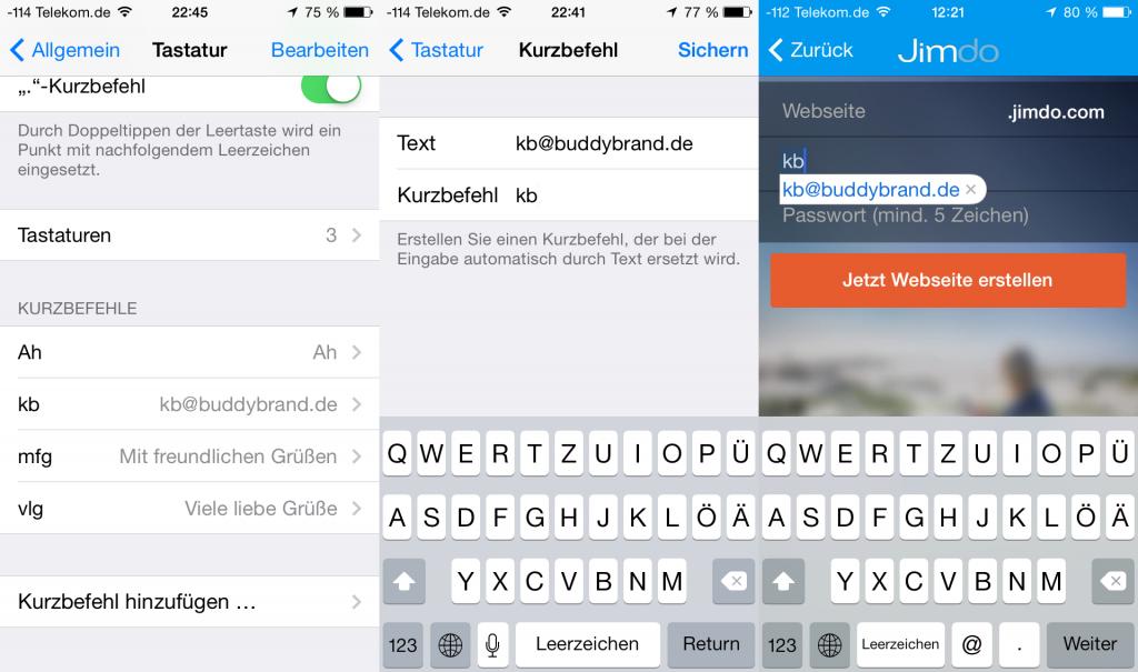 E-Mail Adresse als Kurzbefehl in iOS