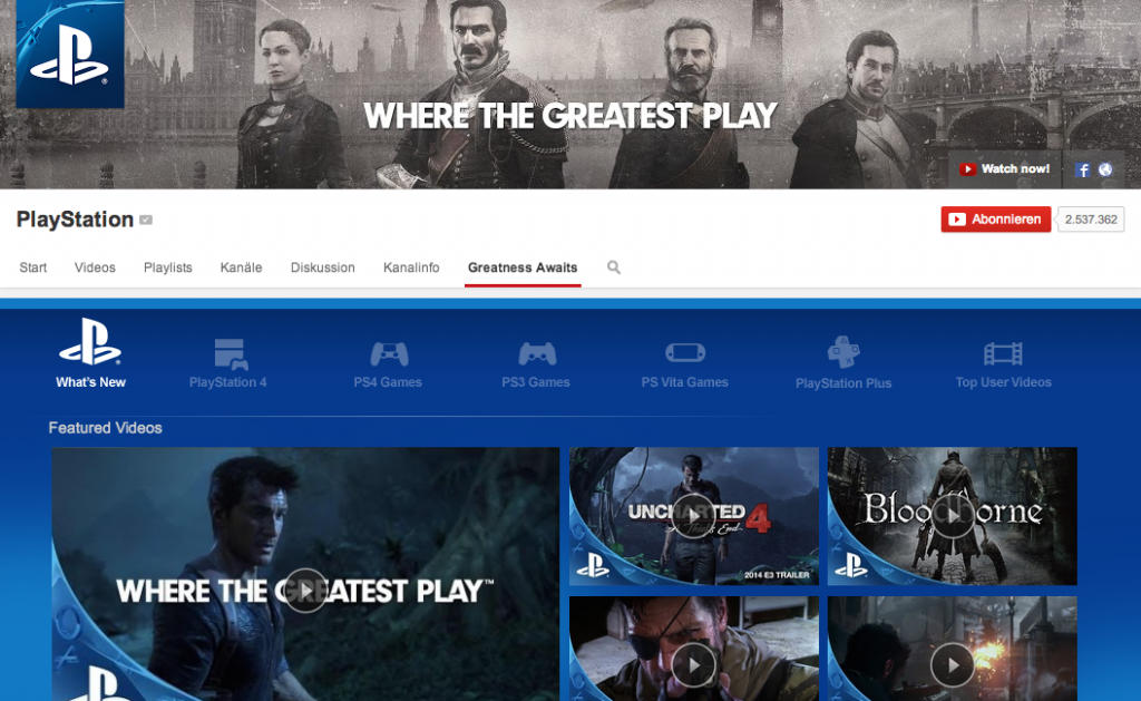 Der Playstation Custom Tab bei Youtube